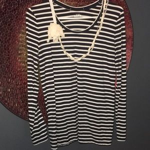 Ann Taylor Loft Navy Striped Jeweled Long Sleeve